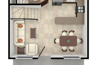 Plano de planta baja de bonita casa modelo Castilla Plus en Real Castilla en Hidalgo